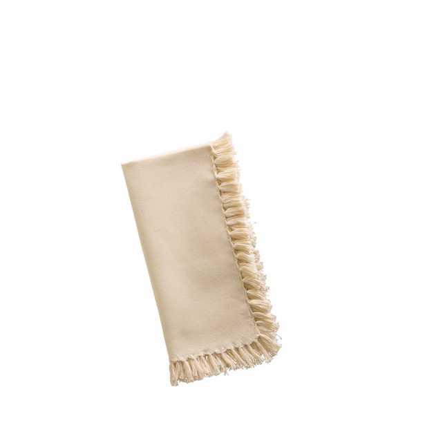 Ecru Essential Fringed Napkins (Set of 4), Beige/Ivory - Home Depot