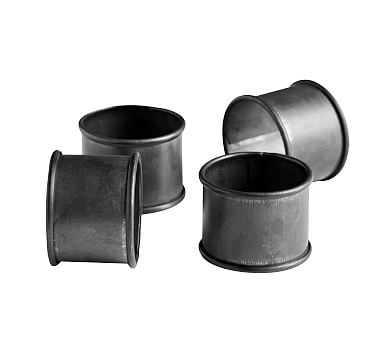 Blackened Galvanized Napkin Ring, Set of 4 - Pottery Barn
