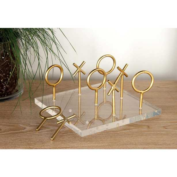 8 in. x 5 in. New Traditional Metal Acrylic Tic Tac Toe Table Decor, Yellow/Gold - Home Depot