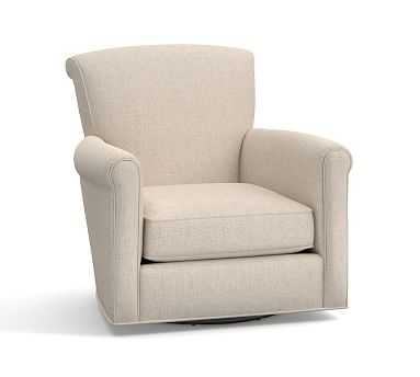 Irving Upholstered Swivel Armchair, Polyester Wrapped Cushions, Performance Everydaylinen(TM) by Crypton(R) Home Oatmeal - Pottery Barn
