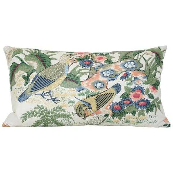 Anshun Paprika and Blue Birds lumbar - 10x18 pillow cover (lumbar - small) with birds / pattern on front, solid on back - Arianna Belle