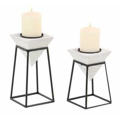 Modern Inverted Pyramid 2 Piece Candlestick Set with Stand - AllModern