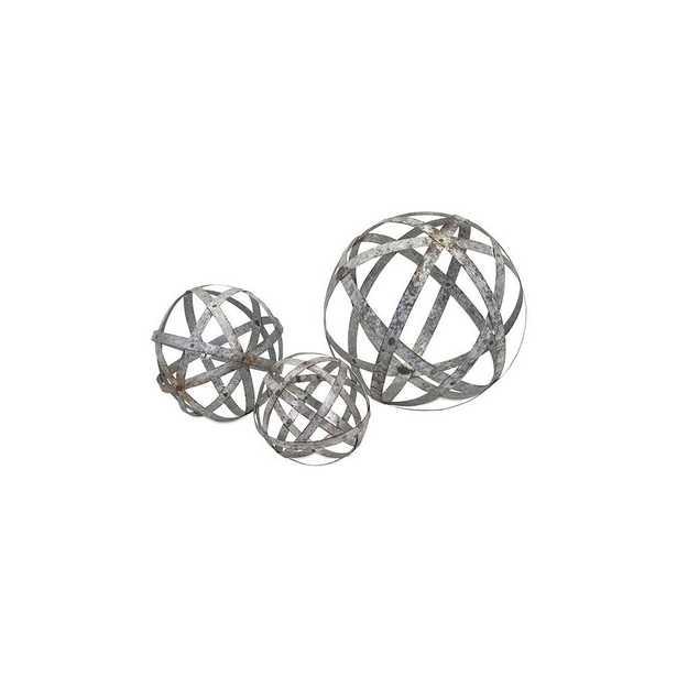 Metal (Grey) Spheres (Set of 3) - Home Depot