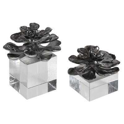 2 Piece Indian Lotus Metallic Flowers Sculpture Set - AllModern