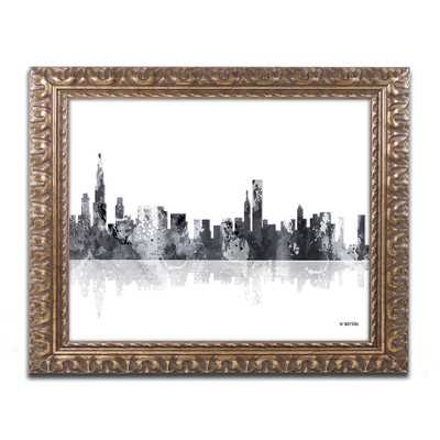 "Chicago Illinois Skyline BG-1"" by Marlene Watson Ornate Framed Graphic Art - Wayfair"