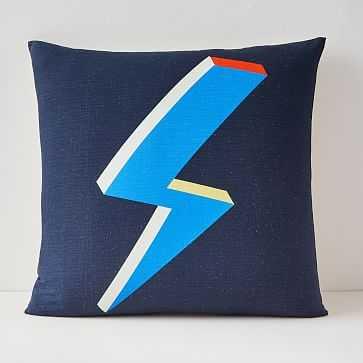 """Lightning Bolt Pillow Cover, 20""""x20"""", Midnight - West Elm"""