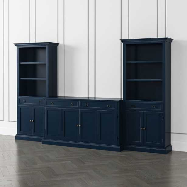 Cameo Indigo 3-Piece Entertainment Center with Storage Bookcases - Crate and Barrel
