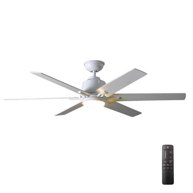 Home Decorators Collection Kensgrove 54 in. Integrated LED Indoor White Ceiling Fan with Light Kit and Remote Control - Home Depot