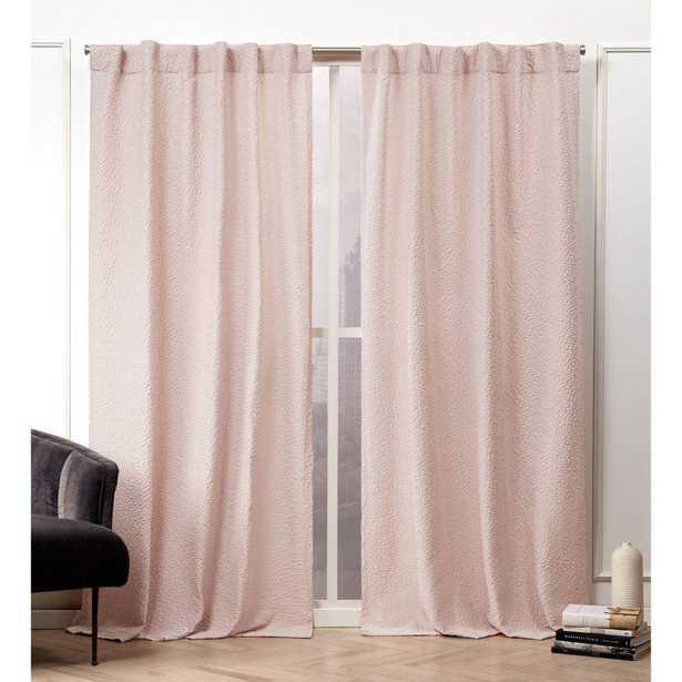 Nicole Miller Textured Matelass Blush Room Darkening Hidden Tab Top Curtain Panel - 50 in. W x 96 in. L (2-Panel) - Home Depot