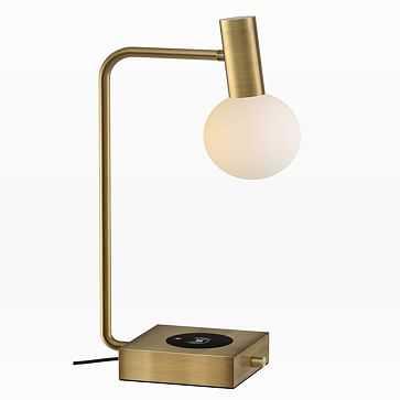 Modern Deco LED Charging Table Lamp + USB, Brass - West Elm
