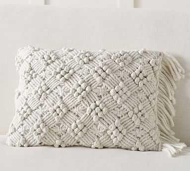 "Sydnney Macrame Lumbar Pillow Cover, 14 x 20"", Natural - Pottery Barn"