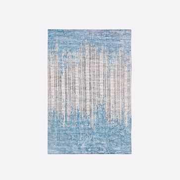 Echo Print Rug, Dusty Blue, 6'x9' - West Elm