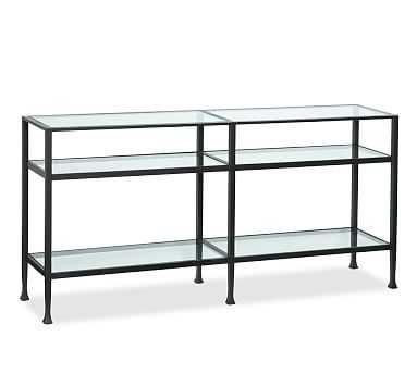 Tanner Metal and Glass Long Console Table, Matte Iron-Bronze finish - Pottery Barn