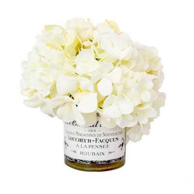 Hydrangea Floral Arrangement in Decoupage Vase - Birch Lane