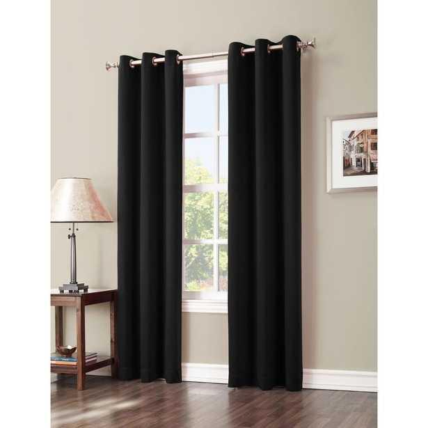 Sun Zero Blackout Gavin 84 in. L Blackout Curtain Panel in Black, 84/Black - Home Depot