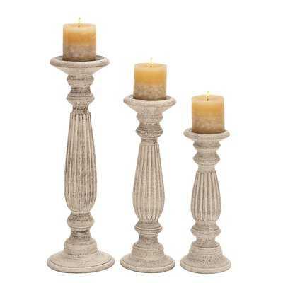 3 Piece Pillar Wood Candlestick Set - Birch Lane