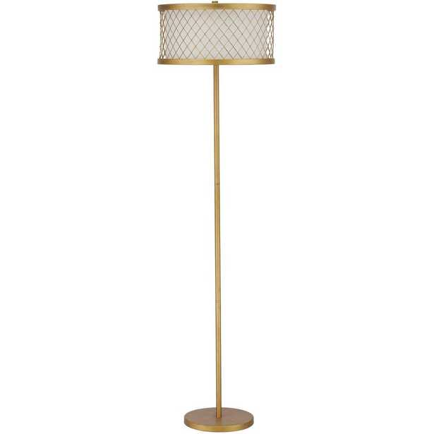 Safavieh Evie Mesh 58.25 in. Antique Gold Floor Lamp with White Shade - Home Depot