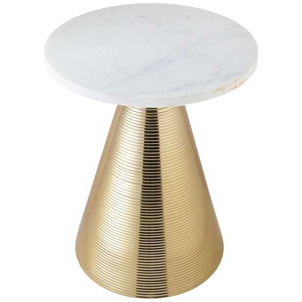 Tempo White Marble Top and Gold Conical Base Side Table - Style # 64N25 - Lamps Plus