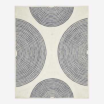 Jute Ripple Circles Rug, Natural, 9'x12' - West Elm