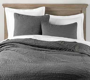 Belgian Flax Linen Hand Stitched Quilt, Full/Queen, Charcoal - Pottery Barn