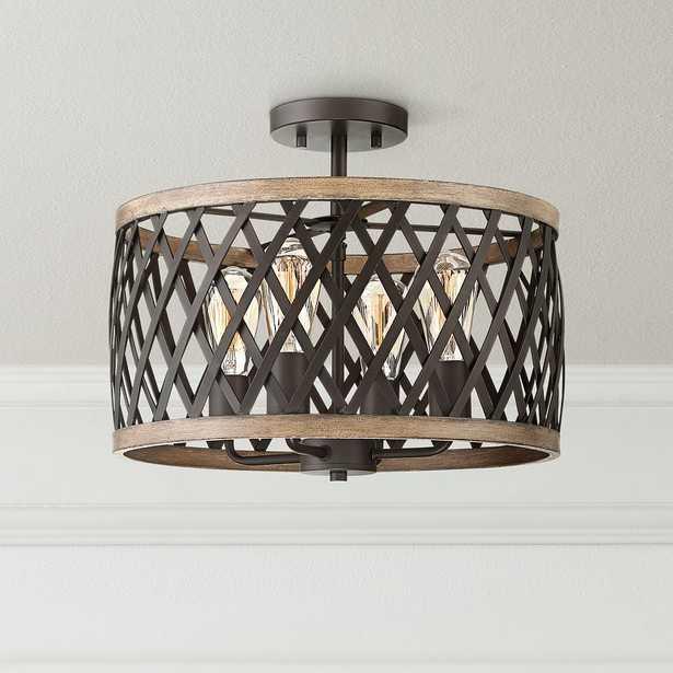 "Trey 16"" Wide Black and Woodgrain 4-Light Ceiling Light - Style # 47R15 - Lamps Plus"