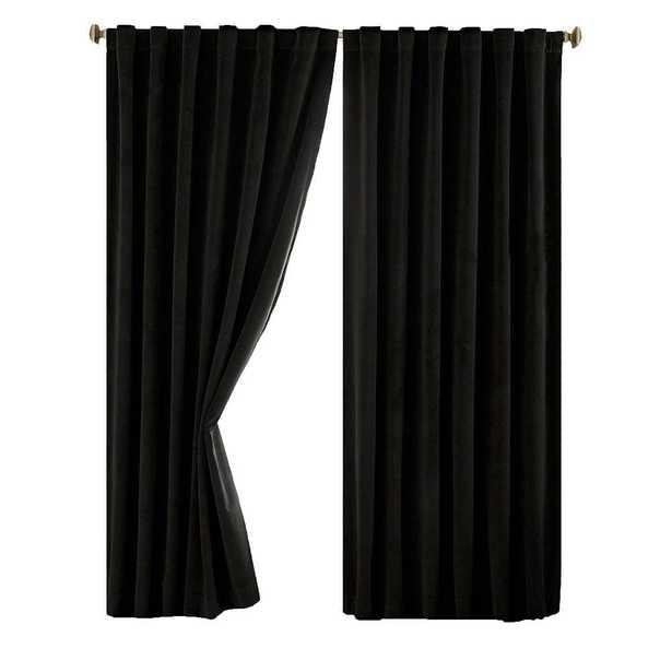 Absolute Zero Total Blackout Black Faux Velvet Curtain Panel, 95 in. Length - Home Depot