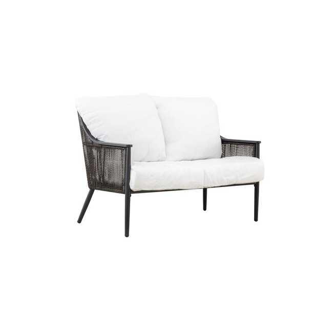 Hampton Bay Bayhurst Black Wicker Outdoor Patio Loveseat with Bare Cushions - Home Depot