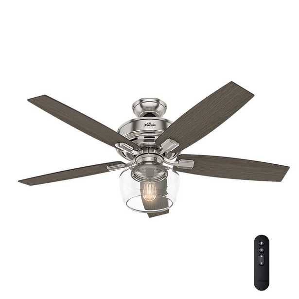 Hunter Bennett 52 in. LED Indoor Brushed Nickel Ceiling Fan with Globe Light Kit and Handheld Remote Control - Home Depot