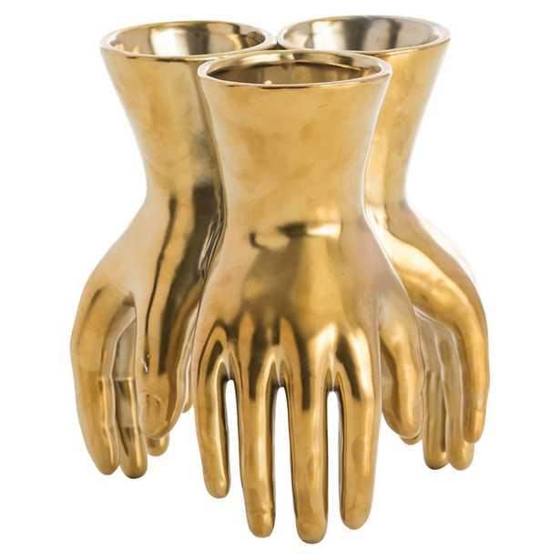 Zwart Regency Modern Golden Hands Vase - Kathy Kuo Home