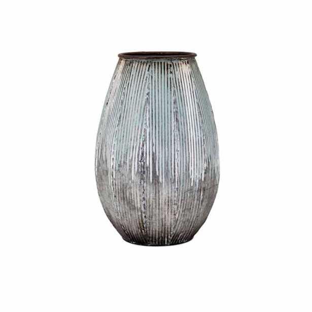 IMAX Robinson Blue Small Metal Vase - Home Depot