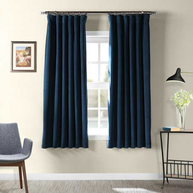 Exclusive Fabrics & Furnishings Signature Midnight Blue Blackout Velvet Curtain - 50 in. W x 63 in. L - Home Depot