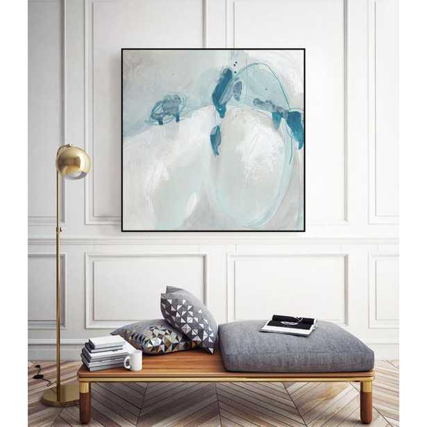 """CLICART 20 in. x 20 in. """"Trace Echo II"""" by June Erica Vess Framed Wall Art, Blue - Home Depot"""