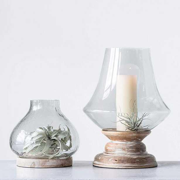 3R Studios Sonoma White/Clear Mango Wood/Handblown Glass Hurricane - Home Depot