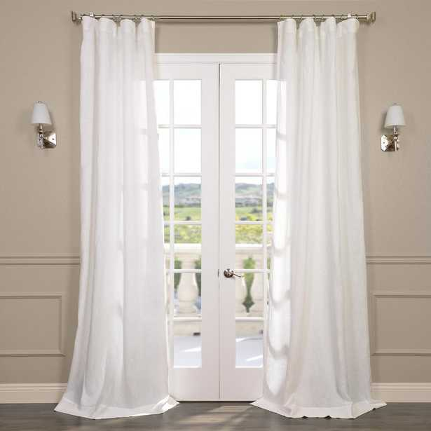 Exclusive Fabrics & Furnishings Antique Lace OffWhite Ivory Linen Sheer Curtain - 50 in. W x 96 in. L - Home Depot