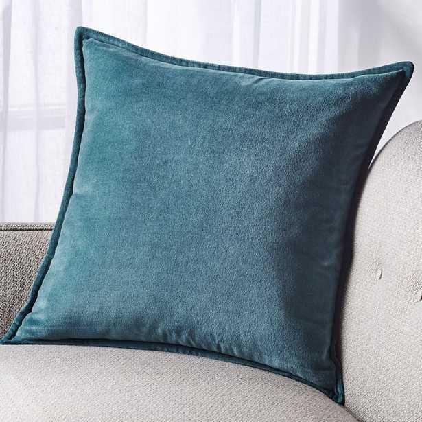 "Brenner Teal Velvet Pillow with Down-Alternative Insert 20"" - Crate and Barrel"