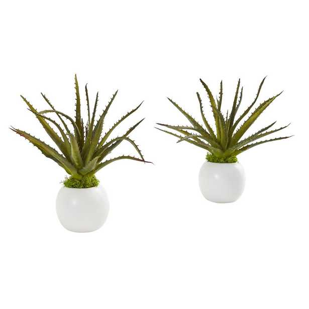 Nearly Natural Indoor 10 Mini Aloe Succulent Artificial Plant in White Vase (Set of 2) - Home Depot