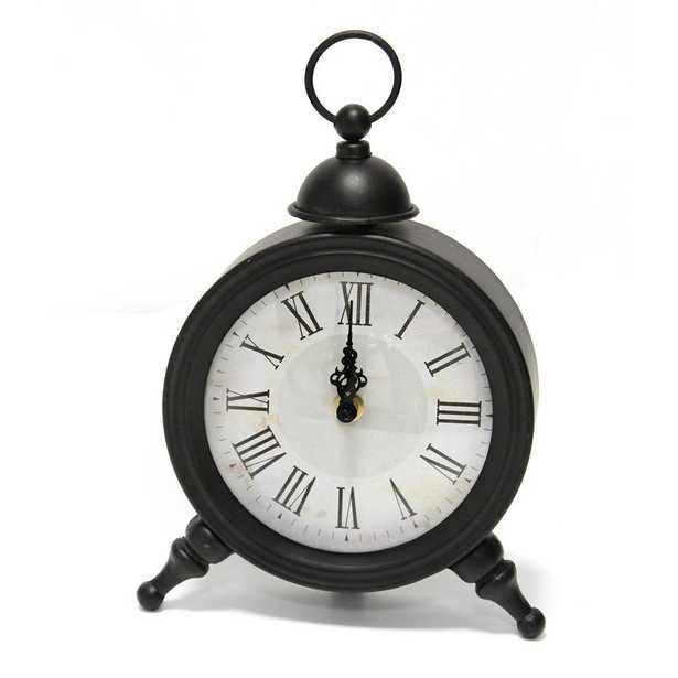 Stratton Home Decor Norman Table Clock, Black - Home Depot