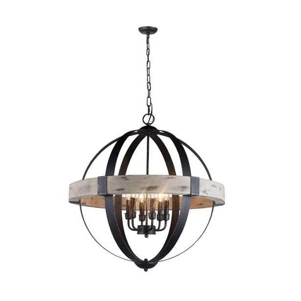 Y Decor Zeus 6-Light Distressed Black Chandelier Wood and Steel Frame - Home Depot