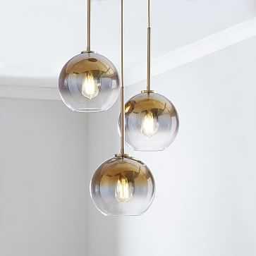 Sculptural Glass 3-Light Round Globe Chand0lier, , Gold Ombre Shade, Brass Canopy - West Elm