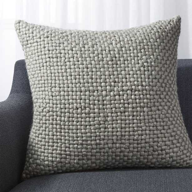 """Cozy Weave Grey Pillow with Feather-Down Insert 23"""" - Crate and Barrel"""