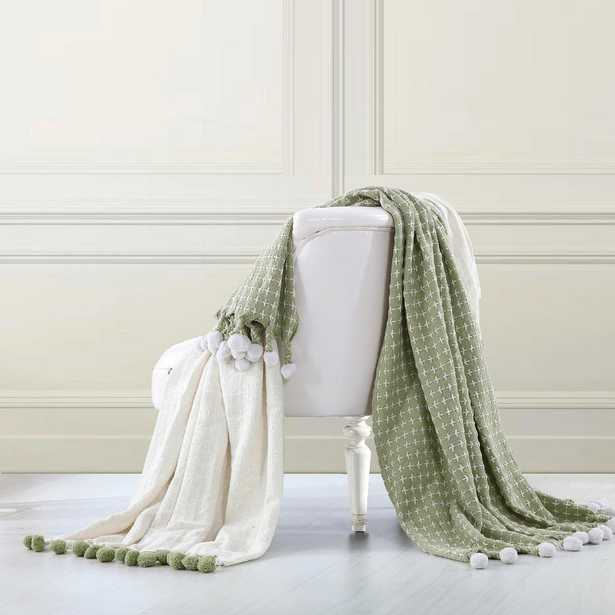 2-Pack Ivory/Sage (Green) 100% Cotton Throw Cross Stitch with Pom Poms - Home Depot