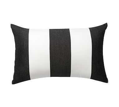 "Sunbrella(R) Awning Stripe Indoor/Outdoor Lumbar Pillow, 16 x 24"", Black - Pottery Barn"