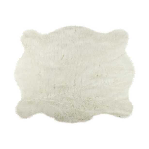 Lifestyle Group Distribution Faux Polar Bear 4. 25 ft. x 5 ft. Cowhide Rug - Home Depot