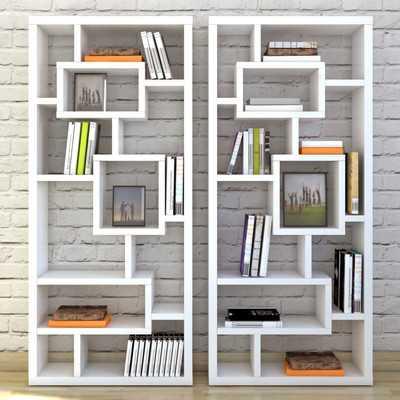 Chrysanthos Geometric Bookcase in White - AllModern