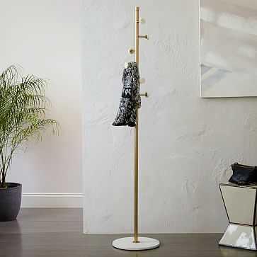 Deco Marble Coat Rack, Marble + Antique Brass - West Elm