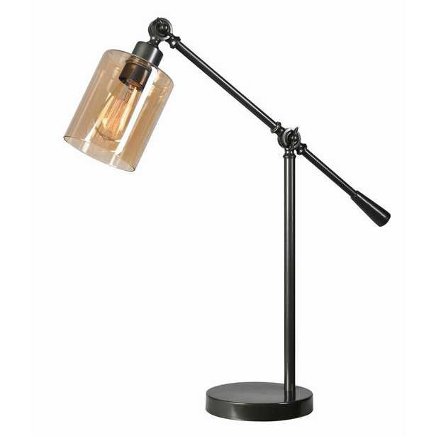 Kenroy Home Thornton 25 In. Bronze Desk Lamp with Amber Glass Shade - Home Depot