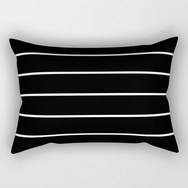 """Black White Pinstripes Rectangular Pillow - Small (17"""" x 12"""") - Society6"""