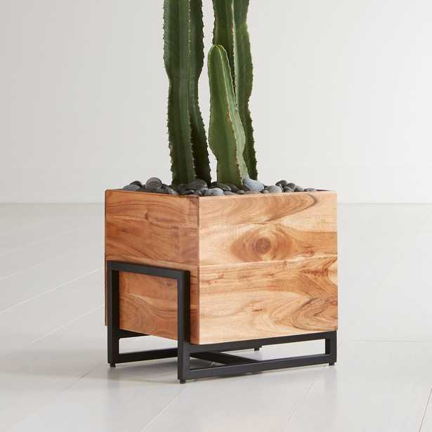 Arcaydia Low Wood and Metal Planter - Crate and Barrel
