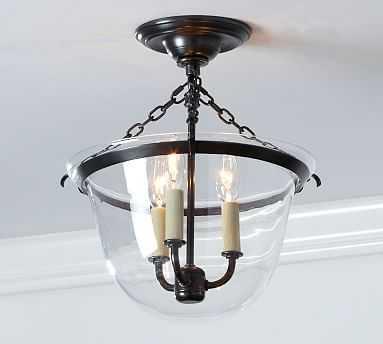 Hundi 3-light Semi-Flushmount Lantern, Bronze finish - Pottery Barn