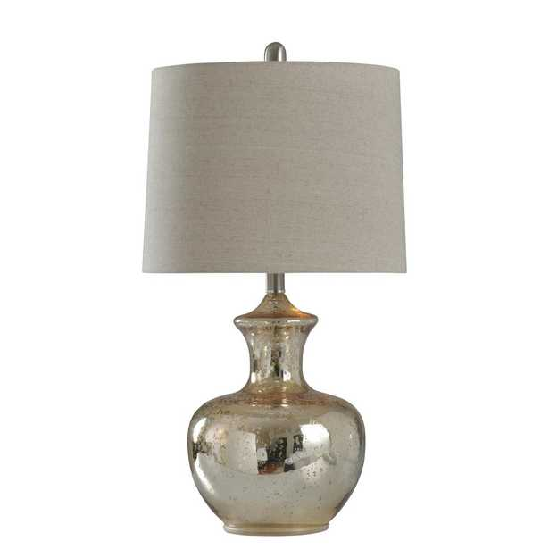 StyleCraft 25 in. Silver Mercury Table Lamp with Off White Hardback Fabric Shade - Home Depot